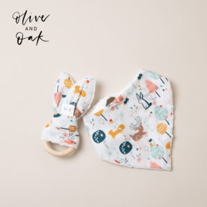 The Wild & The Tame In The Woods Bandana Bib and Teething Ring Bundle